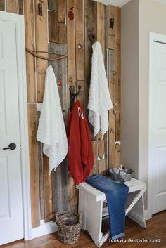 Pallet wood towel hanging wall / Bathroom storage ideas in Cabin Life! on FunkyJunkInteriors.net