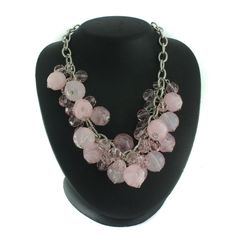 Silvertone Pink Tonal Faceted Mixed Bead Necklace C200 #Jpjewels8 #Bead