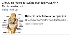 Chcete sa rychlo zotavit po operacii kolena?  Do you want fast recovery after knee operation?  www.icoach-cloud.com