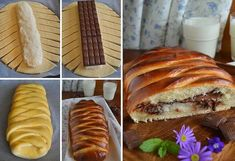 Bounty bread Note: replace bar with chips Nutella, Grilled Chicken Recipes, Bread And Pastries, Homemade Cakes, Snack, Hot Dog Buns, Pesto, Sweet Recipes, Bakery