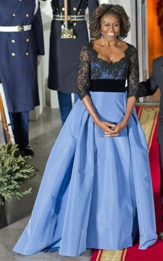 Michelle picked this Carolina Herrera ballgown to turn heads as she and the President welcomed French President Francois Hollande to the White House, February 2014