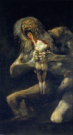 Francisco Goya Çocuklarını Yiyen Satürn / Saturn Devouring His Son 1819-1823. Tuval üzerine yağlıboya. 146 cm × 83 cm. Museo del Prado, Madrid.
