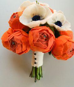 Custom felt flower wedding bouquet via Etsy