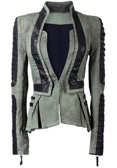 Lookbookstore Women Denim PU Leather Zip Sleeves Pleated Tuxedo Jacket Blazer