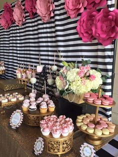 Black, white and pink Paris birthday party! See more party planning ideas at… Parisian Birthday Party, Paris Birthday Parties, Kate Spade Party, Moms 50th Birthday, Girl Birthday, Bar A Bonbon, Pink Paris, Gold Party, Deco Table