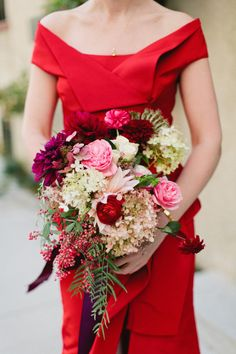 Red wedding dress and blooms Bouquet Bride, Prom Bouquet, Wedding Bouquets, Dress Wedding, Wedding Dresses With Flowers, Prom Flowers, Floral Wedding, Deep Red Wedding, Fall Wedding