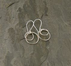 Large entwined circle earrings in sterling silver, hoop earrings, two circles, interlocking, circle links, casual simple on Etsy, $27.00