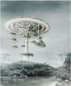 Floating Waterfront Village: Trees of Life / Yi Wang, Jin Wei. Image Courtesy of eVolo [Futuristic Architecture: http://futuristicnews.com/category/future-architecture/]