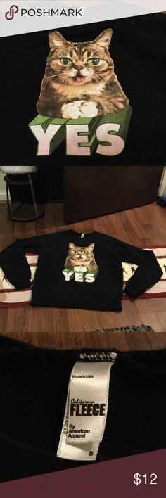 Black fleece lined sweatshirt by American apparel For the die hard cat lovers---Black fleece lined sweatshirt by American apparel, size small American Apparel Tops Sweatshirts & Hoodies