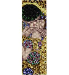The Kiss painting, Klimt, bead PEYOTE Pattern, beading pattern (even count stitch peyote pattern for bracelet, cuff) Peyote Stitch Patterns, Weaving Patterns, Bracelet Patterns, Bead Patterns, Peyote Beading, The Kiss, Kiss Painting, Mirror Painting, Bookmarks