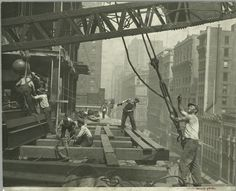 From the New York Public Library (except here noted): Photographs taken by Lewis Hine of the construction of the Empire State Building New York City World Trade Center, Empire State Building, New York Architecture, Architecture Images, Construction Worker, Under Construction, Ellis Island, Old Pictures, Old Photos