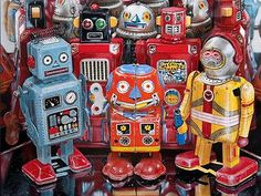 Cesar Santander's meticulous paintings revolve around themes such as vintage toys, old tin cans, objects from his childhood, and more. Retro Robot, Retro Toys, Vintage Toys, Vintage Robots, Superflat, Pop Art, Japanese Robot, Hyper Realistic Paintings, Space Toys