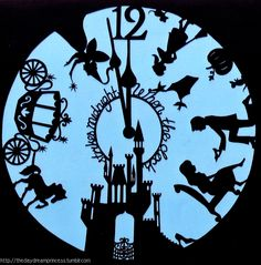 Cinderella Clock papercut on We Heart It Disney Silhouette Art, Cinderella Silhouette, Cinderella Art, Cinderella Birthday, Disney Diy, Disney Crafts, Disney Love, Disney Kunst, Kirigami