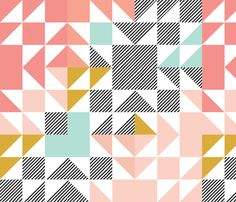 blush puzzle wholecloth // diagonal stripe fabric by ivieclothco on Spoonflower…