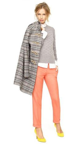 toggle coat in houndstooth plaid / honeycomb cable sweater / strectch perfect shirt / cafe capri in wool / monda suede pumps