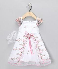 Pink Floral Angel-Sleeve Dress - Infant