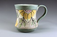 Hand Painted Floral Mug  Yellow Fowers on Sage and by ateliermarla, $30.00