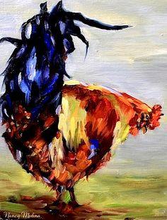 Baby's Got Back - Rooster painting, 8X10. www.nancymedina.com