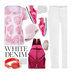 """""""Bright White Casual: Summer Denim"""" by beebeely-look ❤ liked on Polyvore featuring Saucony, Mother, Urbanears, casual, school, whitejeans, sammydress and baseballcap"""