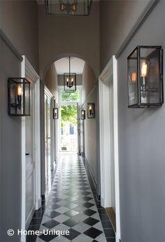 Home-Unique Binnenhuisarchitectuur Styling / Interiordesign entrance Entry Stairs, Entry Hallway, Porch Pendant Light, Modern Lanterns, Checkered Floors, Hall Lighting, Hallway Designs, Contemporary Home Decor, Exterior Lighting
