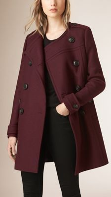 Burberry Deep Burgundy Collarless Wool Blend Cocoon Coat - A wool and cashmere blend coat. A modern update of a classic style, the piece features a clean, collarless neckline and a double-breasted button closure. Discover the women's outerwear collection at Burberry.com