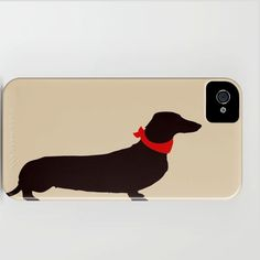 Daschund Dog on iPhone Case - (3GS, 3G, 4S, 4) black and beige color Dachshund silhouette robust personalized pet lover Gift pet dog love