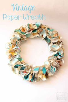 Among the Young: Back to School Blog hop – Vintage Paper Wreath