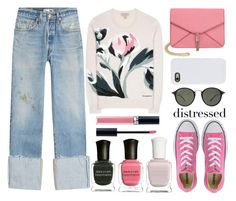 """""""distressed denim"""" by juliehalloran ❤ liked on Polyvore featuring RE/DONE, Burberry, Converse, Olivia Miller, LMNT, Ray-Ban, Deborah Lippmann and Christian Dior"""