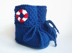 Strick- & Häkelschuhe - Babyschuhe Kurzstiefel gestrickt - ein Designerstück von ellyshop bei DaWanda