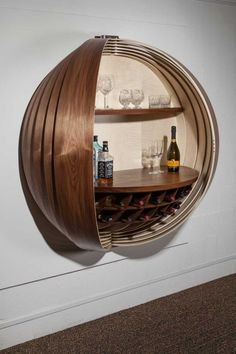 A Wall Mounted Bar Cabinet Inspired by a Spinning Coin Photo furniture, A Wall-Mounted Bar Cabinet Inspired by a Spinning Coin - Design Milk Unique Furniture, Dining Furniture, Furniture Design, Furniture Ideas, Cheap Furniture, Furniture Stores, Vintage Furniture, Furniture Removal, Street Furniture