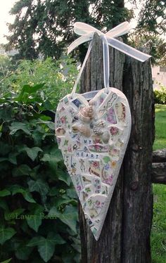 My Heart  Sailor's valentine inspired broken china mosaic heart.