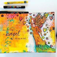 Finished the little angel in my gelli printed art journal. I think these colorful gelli prints are the perfect backgrounds to work on, love it! Stamp from Carabelle Studio birgitkoopsen.nl