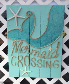 Hey, I found this really awesome Etsy listing at https://www.etsy.com/listing/232110094/handmade-mermaid-crossing-with-rope #WoodProjectsDiyBathroom