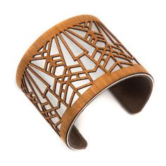 Have you met Joyo.. these amazing timber and Aluminun designz are the perfect compliment for your Autumn outfit.     https://www.facebook.com/ShopJoyo    laser cut wood jewelry cuff bracelet art deco metropolis 1