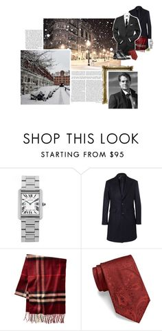 """""""(Flashback)   (A) Attends the Russells' Christmas party at their home in Belgravia"""" by immortal-longings ❤ liked on Polyvore featuring Cartier, Hardy Amies, BOSS Hugo Boss, Burberry, men's fashion and menswear"""