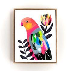 Australian King Parrot by Inaluxe Guache, Diy Canvas Art, Bird Art, Botanical Prints, Fine Art Prints, Modern Prints, Parrot, Art For Kids, Art Drawings