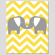 Modern Chevron Elephant Silhouette Print - 8 x 10 Chevron Zig Zag - Pick Your Colors - Gray, Yellow, Aqua, Pink, and More. $20.00, via Etsy.