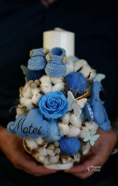 Flowers of Soul: Lumanari de botez Candle Magic, Christening, Candle Holders, Easter, Table Decorations, Sweet, Handmade, Crafts, Bouquets