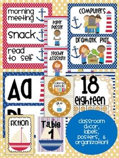 Labels, posters, and signs for a cute nautical/ sailing theme! Classroom Labels, Classroom Decor Themes, Classroom Design, Classroom Organization, Classroom Management, Classroom Ideas, 3rd Grade Classroom, Future Classroom, Sailing Theme