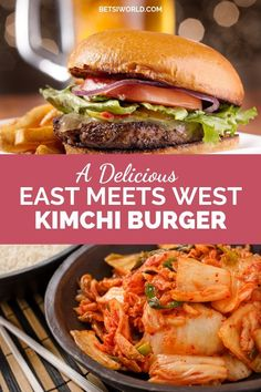 A delicious East meets West kimchi burger! If you love burgers then you will love this kimchi burger! It has all of the asian flavors with all of the beefy goodness of burgers. Try making this delicious burger recipe today! Entree Recipes, Burger Recipes, Dinner Recipes, Spicy Recipes, Lunch Recipes, Beef Recipes, Easy Recipes, Kimchi Burger, Pork Enchiladas