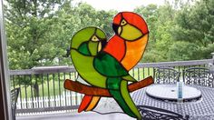 saw a pin of these love birds here and had to copy it in glass