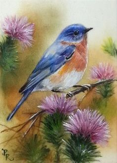 """Daily Paintworks - """"Bluebird Thistles"""" by Paulie Rollins"""