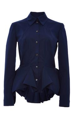 Navy Pleated Peplum Cotton Poplin Shirt by Zac Posen for Preorder on Moda Operandi