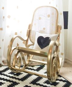 Painted Furniture •~• gold bentwood rocker