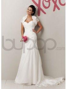 Organza Asymmetrical Draping A-line Strapless Sweetheart Neckline Wedding Dress