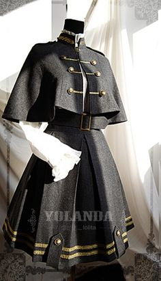 This Yolanda uniform style velvet lolita dress/outfit features the military style. The whole outfit is tailored by velvet with inside layer by polyester. This lolita outfit is for Autumn and Winter, with a big cape which is changeable. Pretty Outfits, Pretty Dresses, Cool Outfits, Scene Outfits, Old Fashion Dresses, Fashion Outfits, Emo Fashion, Rock Fashion, Fashion Shirts