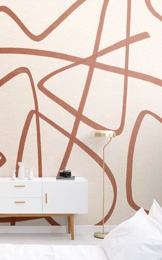 Papier Peint Croquis Terracotta et Beige How To Hang Wallpaper, Normal Wallpaper, Lines Wallpaper, Drawing Wallpaper, Cool Wallpaper, Paint Matching, Abstract Styles, Geometric Designs, Home