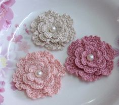 Hey, I found this really awesome Etsy listing at https://www.etsy.com/listing/165639925/3-crochet-flowers-with-pearl-in-2-14