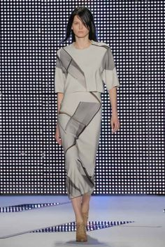 Asymmetrical prints and shapes are beautifully designed by @Lacoste shown at @Mercedes-Benz Fashion Week velvetandvino.com