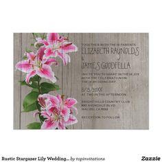 Rustic Stargazer Lily Wedding Invitations